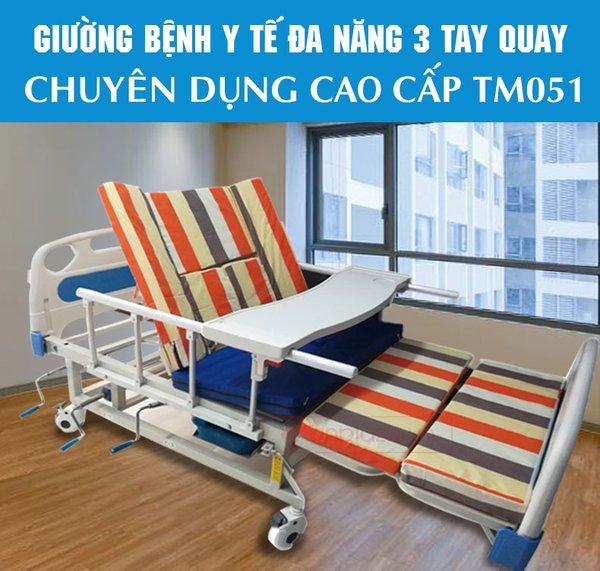 Giường y tế bệnh nhân 3  tay quay bán tại Xedienvietphap.com