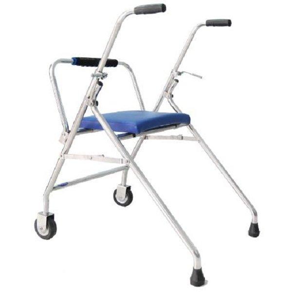 Khung tập đi có ghế ngồi được thiết kế bằng inox với 2 cặp bánh xe