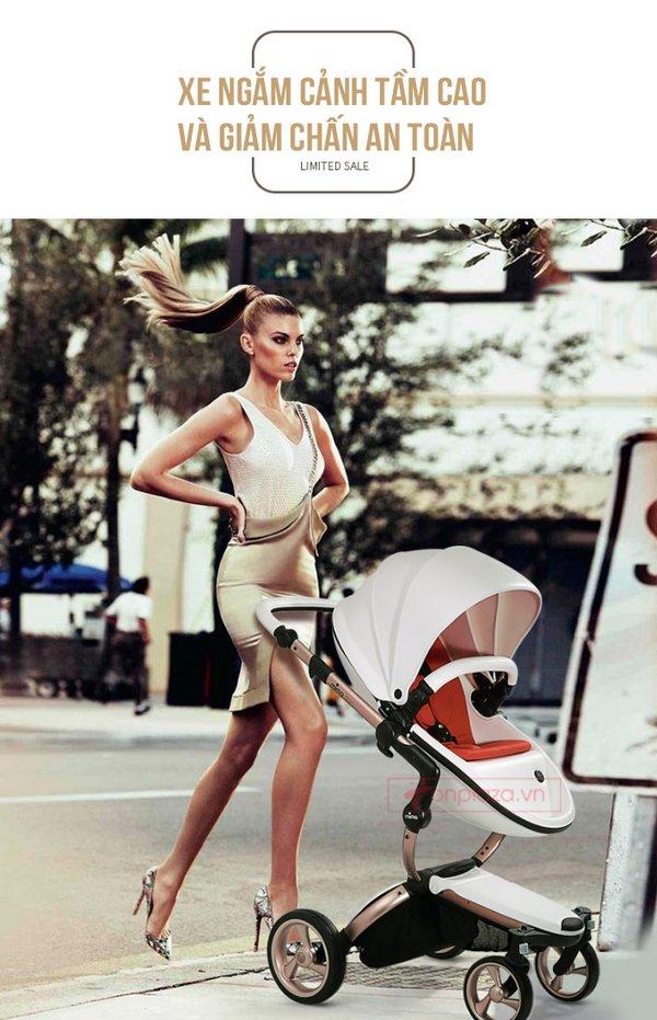 Ở giai đoạn sơ sinh nên dùng xe đẩy có ghế tựa về tư thế nằm cho bé