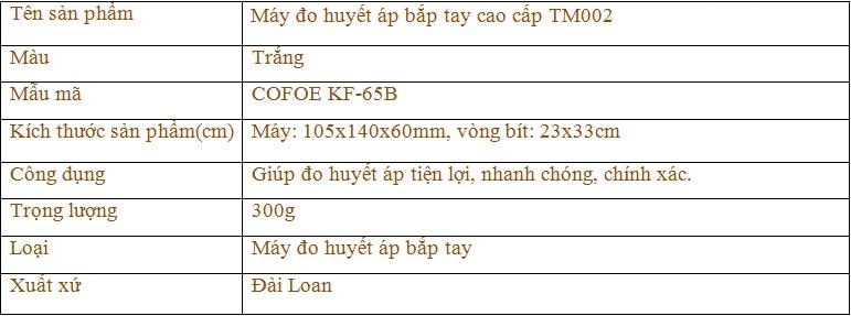 thông tun sản phẩm máy đo huyết áp bắp tay cao cấp TM002