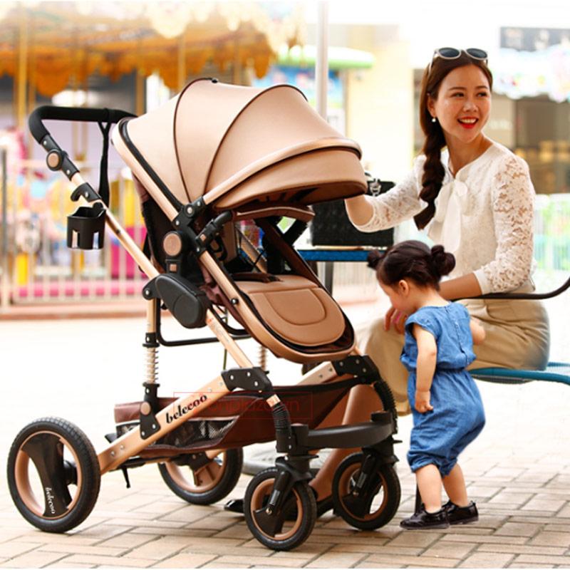 Xe đẩy đa năng màu nâu thời thượng dễ gấp giảm chấn an toàn cho bé XĐ023