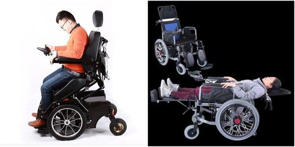 Xe lăn có thể ngả gập giúp người dùng có tư thế thoải mái khi dùng