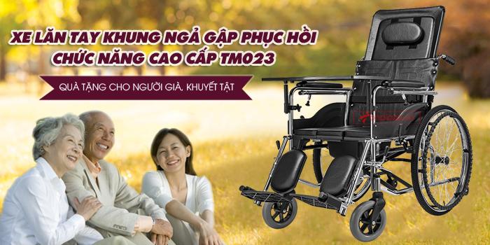xe lăn tay khung ngã gập phục hồi chức năng TM023