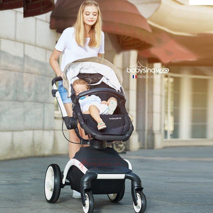 Xe nôi đa năng giảm chấn dành cho bé phong cách châu Âu hiện đại